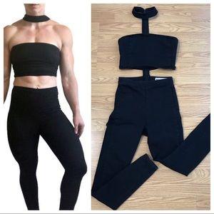 ASOS denim black sexy skinny choker neck jumpsuit